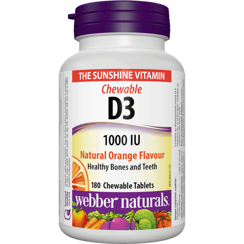 Webber naturals D3 1000IU 180 tbl natural orange